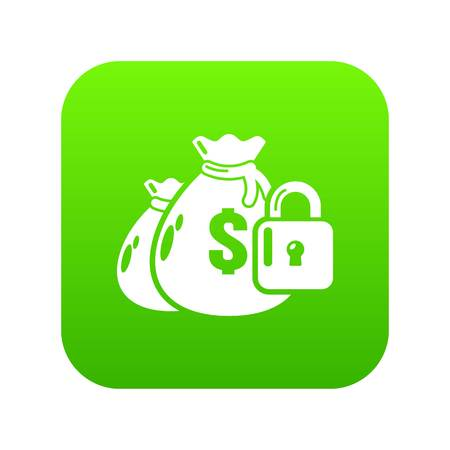 Insurance money icon green vector isolated on white background