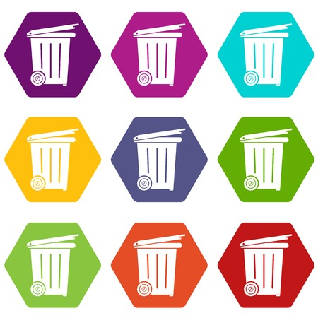 Wheel container icons 9 set coloful isolated on white for web