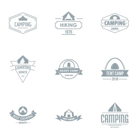 Camping logo set. Simple set of 9 camping vector logo for web isolated on white background Illustration