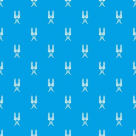 Long-term wheat pattern vector seamless blue repeat for any use