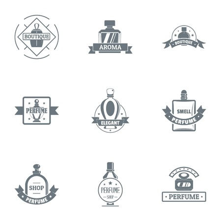 Perfum logo set. Simple set of 9 perfum vector logo for web isolated on white background Vectores