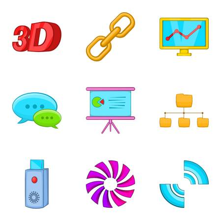 Dialog window icons set. Cartoon set of 9 dialog window vector icons for web isolated on white background