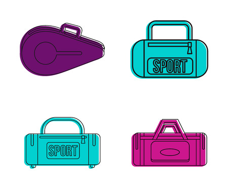 Sport bag icon set. Color outline set of sport bag vector icons for web design isolated on white background