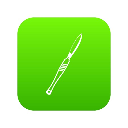 Stainless medical scalpel icon digital green for any design isolated on white vector illustration