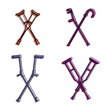 Crutches icon set. Color outline set of crutches vector icons for web design isolated on white background