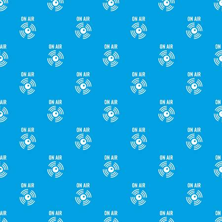 On air radio pattern vector seamless blue repeat for any use