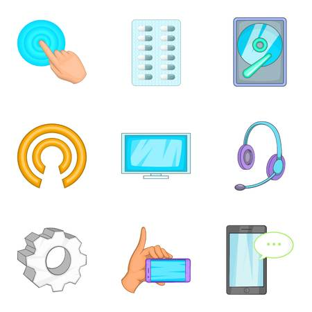 Radioelectronic icons set. Cartoon set of 9 radioelectronic vector icons for web isolated on white background