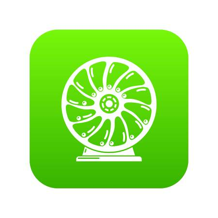 Perpetuum mobile icon green vector isolated on white background