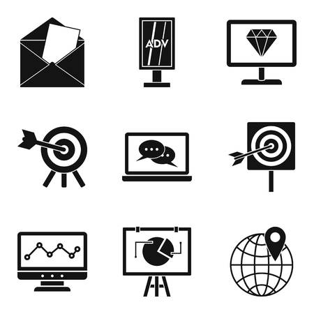 Mobile working icons set. Simple set of 9 mobile working vector icons for web isolated on white background Stock Illustratie