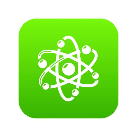 Atom icon green vector isolated on white background