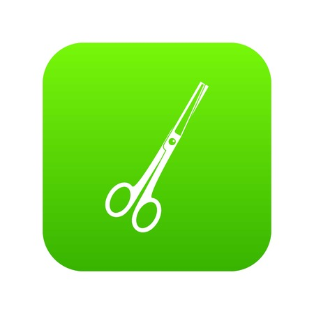 Steel scissors icon digital green for any design isolated on white vector illustration