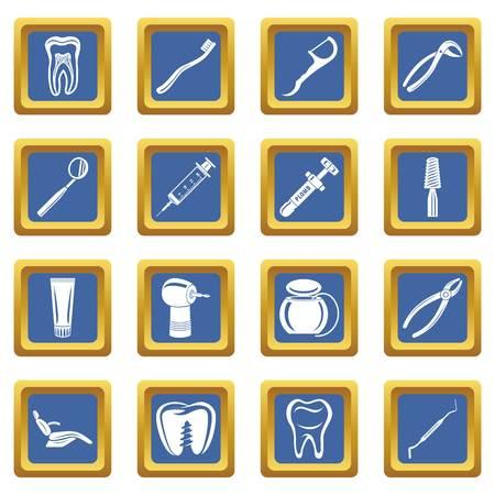 Dentist stomatologist icons set vector blue square isolated on white background