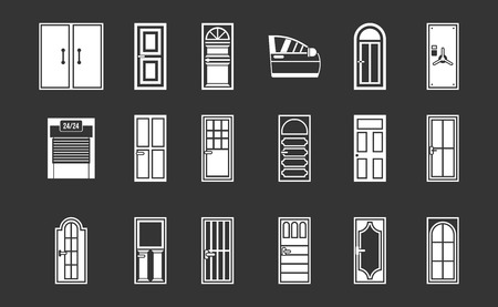 Door icon set vector white isolated on grey background Illusztráció