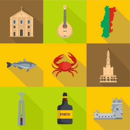 Portugal icons set. Cartoon set of 9 portugal vector icons for web isolated on white background 矢量图像