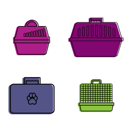 Pet bag icon set. Color outline set of pet bag vector icons for web design isolated on white background