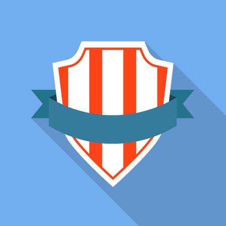 Striped shield icon. Flat illustration of striped shield vector icon for web