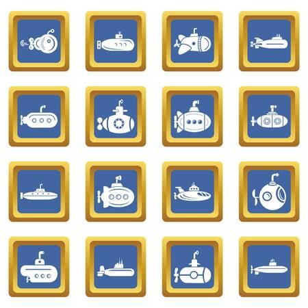 Submarine icons set vector blue square isolated on white background