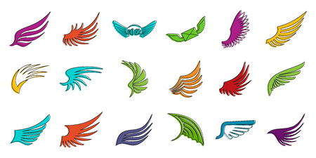 Wings icon set. Color outline set of wings vector icons for web design isolated on white background