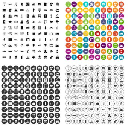 100 electrical engineering icons set vector in 4 variant for any web design isolated on white