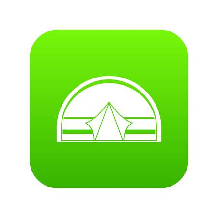 Semicircular tent icon digital green for any design isolated on white vector illustration Illustration