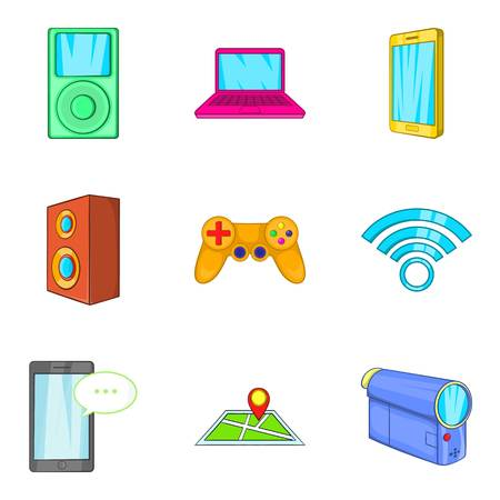 Portable device icons set. Cartoon set of 9 portable device vector icons for web isolated on white background