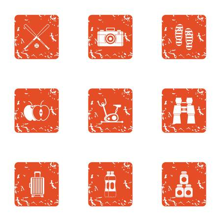 Friendly match icons set. Grunge set of 9 friendly match vector icons for web isolated on white background