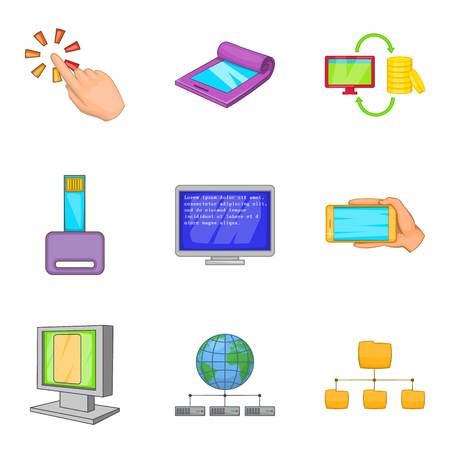 Portable instrument icons set. Cartoon set of 9 portable instrument vector icons for web isolated on white background