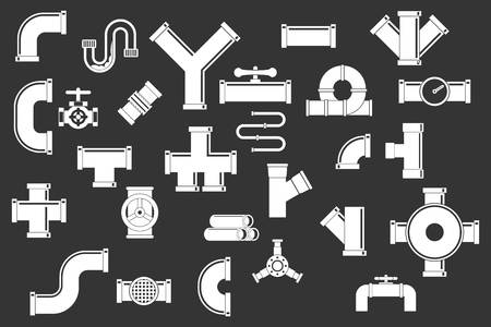 Pipe icon set vector white isolated on grey background Illustration