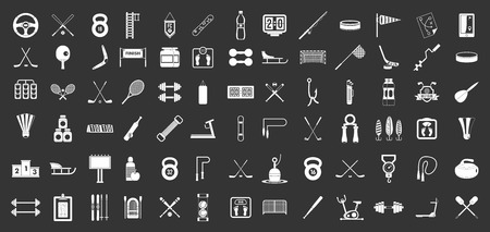 Sport equipment icon set vector white isolated on grey background Çizim