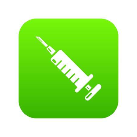 Syringe icon green vector isolated on white background Illustration