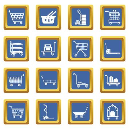 Cart types icons set vector blue square isolated on white background