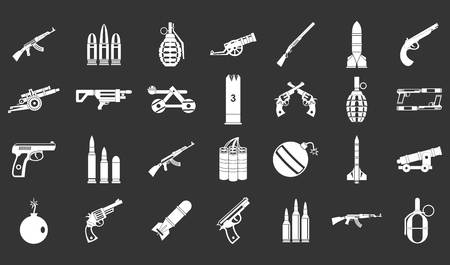 Weapons ammunition icon set vector white isolated on grey background