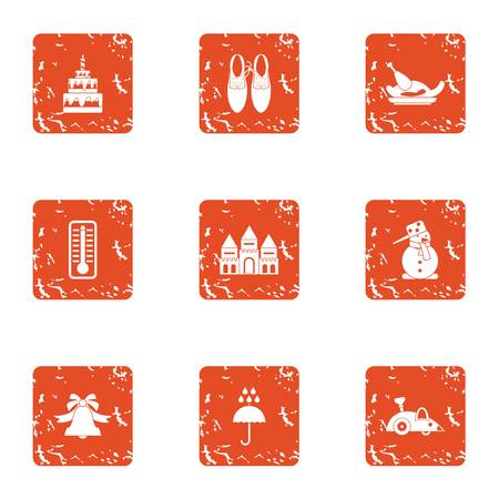 Wonderful holiday icons set. Grunge set of nine wonderful holiday vector icons for web isolated on white background