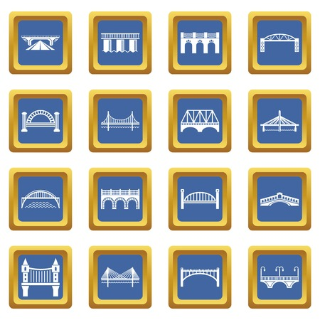 Bridge icons set vector blue square isolated on white background