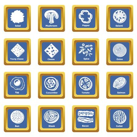 Slice food icons set vector blue square isolated on white background Illustration