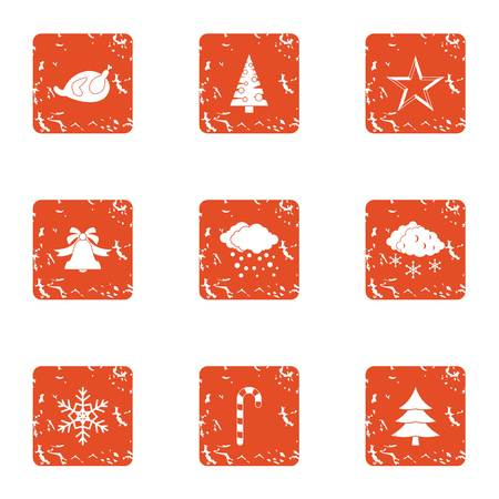 Winter tale icons set. Grunge set of 9 winter tale vector icons for web isolated on white background