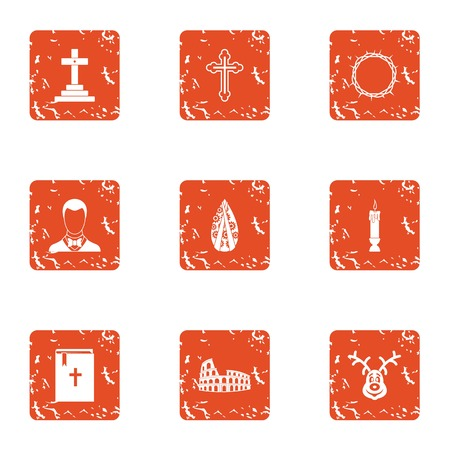 Obsequies icons set. Grunge set of 9 obsequies vector icons for web isolated on white background