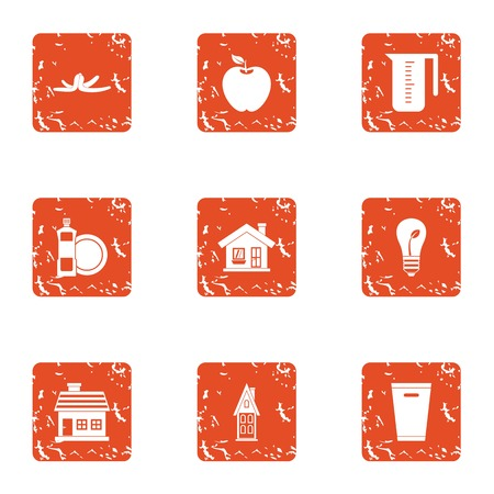 Pure house icons set. Grunge set of 9 pure house vector icons for web isolated on white background