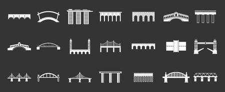 Bridge icon set vector white isolated on grey background