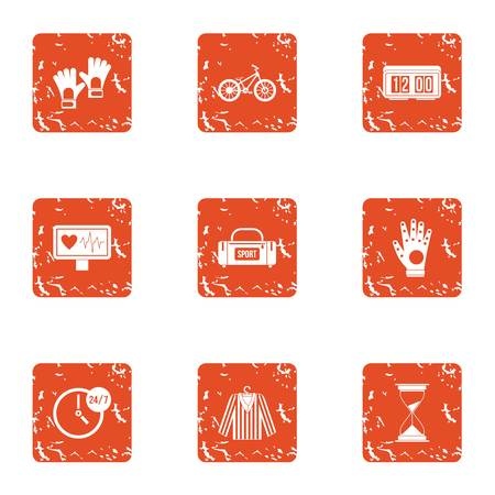 Sport referee icons set. Grunge set of 9 sport referee vector icons for web isolated on white background