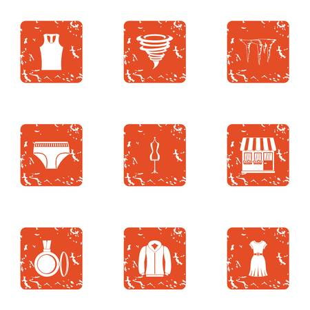 Boutique icons set. Grunge set of 9 boutique vector icons for web isolated on white background