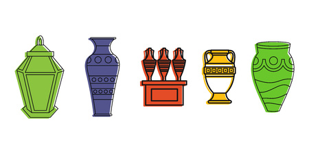 Vase icon set. Color outline set of vase vector icons for web design isolated on white background
