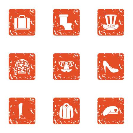 American hike icons set. Grunge set of 9 american hike vector icons for web isolated on white background Illustration
