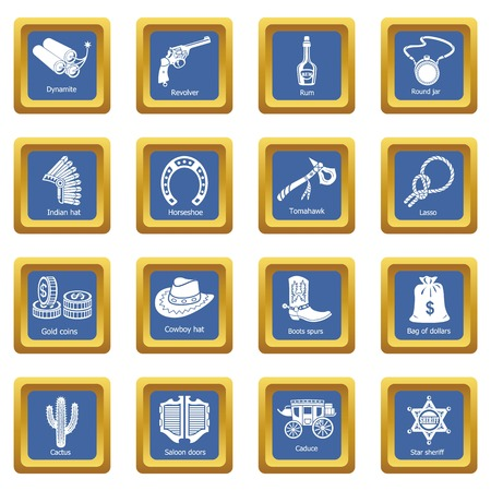 Wild west icons set vector blue square isolated on white background