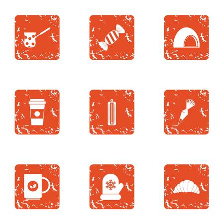 Cozy winter icons set. Grunge set of 9 cozy winter vector icons for web isolated on white background