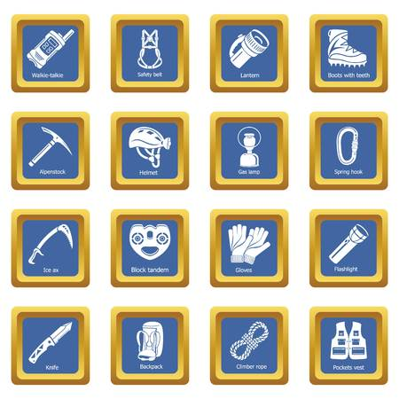 Speleology equipment icons set vector blue square isolated on white background