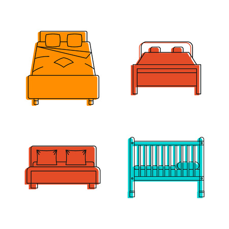 Bed icon set. Color outline set of bed vector icons for web design isolated on white background