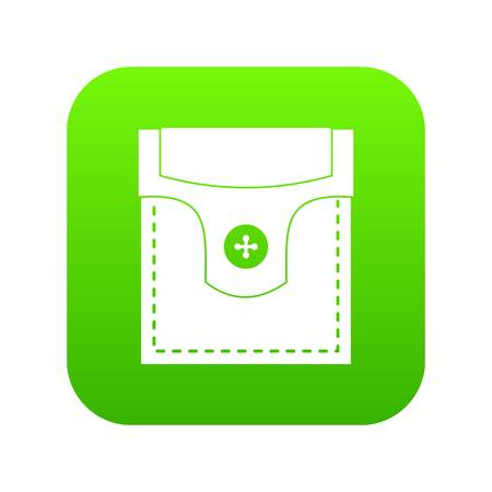 Valve pocket with button icon digital green for any design isolated on white vector illustration