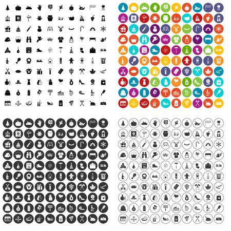 100 family tradition icons set vector in 4 variant for any web design isolated on white