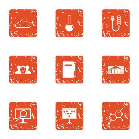 Chemical university icons set. Grunge set of 9 chemical university vector icons for web isolated on white background Illustration